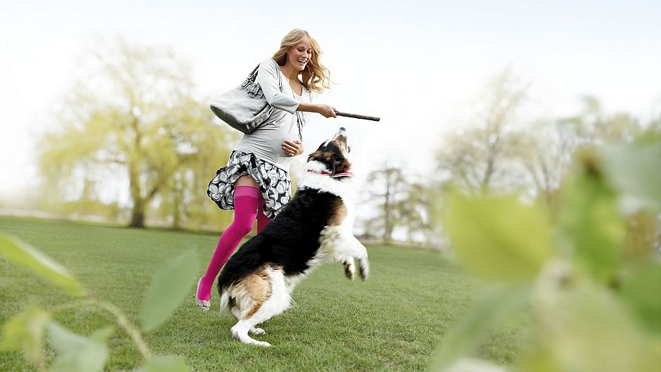 Pregnant woman with dog wearing mediven elegance